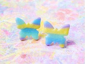 Náušnice - Motýle pastelkové 1 - 3149398