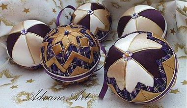 Dekorácie - Fialovo zlaté vianoce sada - 3150270