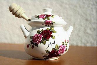 Nádoby - Nádoba na med s vrtieľkom 250ml - ruže - 3154063