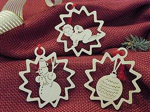 Dekorácie - Vianočné ozdoby - Anjelik, snehuliak, guľa (X4) - 3167309