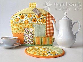 Úžitkový textil - Čiapka na konvicu - oranžovo-zelená - 3172334