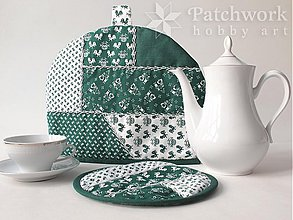 Úžitkový textil - Čiapka na konvicu s chňapkou - zelená - 3172404