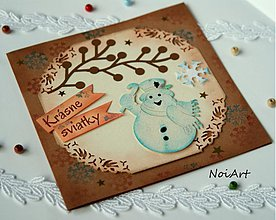 Papiernictvo - Vianočná pohľadnica, Snehuliak - 3172577