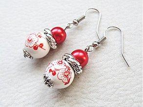 Náušnice - červený porcelán - 3173954
