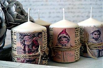 Svietidlá a sviečky - Sada 4 vianočných vintage sviečok - 3181674