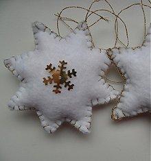 Dekorácie - hviezdičky bielo-zlaté (pár) - 3184444