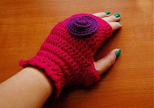 Rukavice - Cyklaménové rukavičky - 3193603