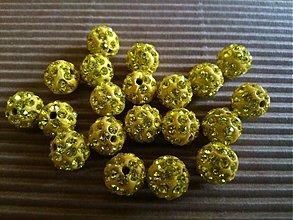 Korálky - Žlté disco gulôčky s CZ kryštálikmi - 3203480