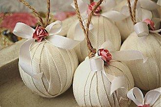Dekorácie - Sada 6 shabby chic vianočných gúľ - 3222585