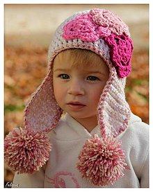 Detské čiapky - ušianka v jemných tónoch - 3225439
