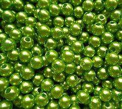 Korálky - GLANCE plast 4mm-zelená-120ks - 3237348