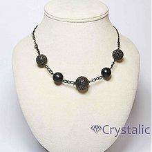 Náhrdelníky - Náhrdelník s černými voskovými a kovovými filigránovými perlemi - 3238781