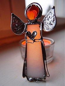 Svietidlá a sviečky - Anjel šťastia- svietnik - 3239285