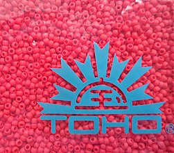 Korálky - 8-TOHO Round 11/0-Opaque-Frosted Pepper Red-10g - 3240614