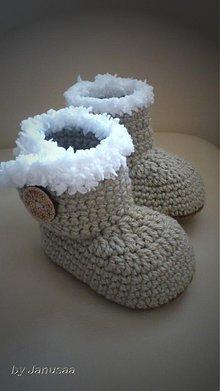 Topánočky - Háčkované čižmičky s gombíkom 2 - 3254143