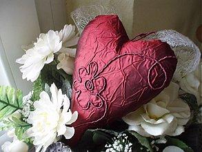 Dekorácie - Srdce - bordó,stredné - 3263208