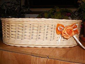 Košíky - Košíček oválny s ružičkou a mašličkou - 3264790