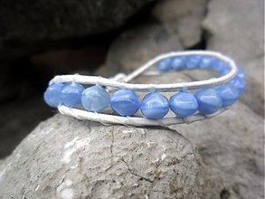 Náramky - Kožený bielo-modrý (bledý) - 3271028