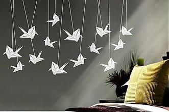 Dekorácie - Origami žeriavie - elegantná samolepka do interiéru - 3273692