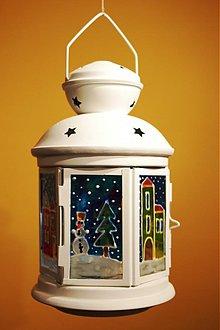 Svietidlá a sviečky - Vianočný/ zimný lampášik- noc - 3274332