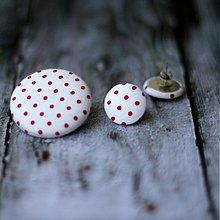 Sady šperkov - VÝPREDAJ!!! Náušky a brošňa s červenými bodkami - 3297522