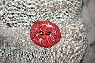 Galantéria - gombík červený relief 3cm - 3309286