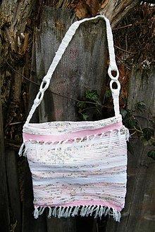 Kabelky - Tkaná ružovo-biela taška - 3318562