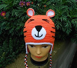 Detské čiapky - Háčkovaný tigrík - 3321442