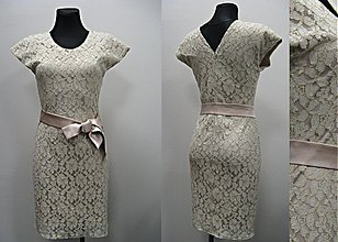 Šaty - Krajkové šaty púzdrového strihu so zlatými niťami - 3321687