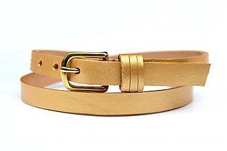 Opasky - Zlatý kožený opasek - 3325467