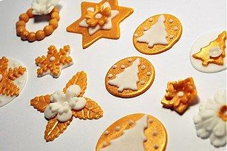 Drobnosti - Zlato-biely vianočný set na perníčky (16 ks) - 3330178