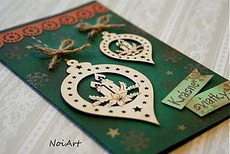 Papiernictvo - Vianočná pohľadnica, Gule so sviečkami - 3336663