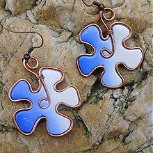 Náušnice - Modro-biele kvetinky - 3350866