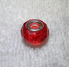 Korálky - Pandora plast 9x15mm-1ks (červená) - 3356681