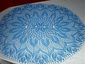 Úžitkový textil - NÁDHERNÝ modrý pletený obrus - 3361924