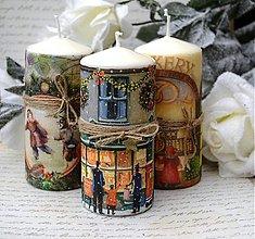 Svietidlá a sviečky - Vianočné vintage trio - 3363463