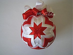 Dekorácie - Patchworková guľa - bielo červená - 3367600