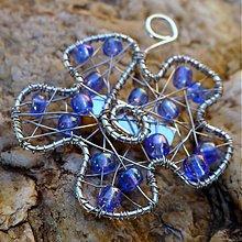 Náušnice - Kvetinka v modrom - 3375212