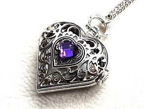 Náhrdelníky - purpurové srdce - 3381303