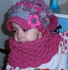 Detské čiapky - Sivo ruzova homles supravicka so siltikom - 3381332