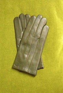 Doplnky - Tmavě olivové pánské kožené rukavice s vlněnou podšívkou - 3385069