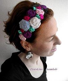 Ozdoby do vlasov - textilná čelenka s kvetmi - kúsok z Fridy - 3390186