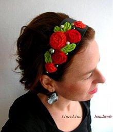 Ozdoby do vlasov - textilná čelenka s kvetmi - kúsok z Fridy II. - 3390249