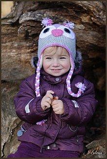 Detské čiapky - fialova zimná fleecom podšitá sovička - 3399181
