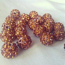 Korálky - Shamballa korálky CZ kryštál karamelové, 10mm, 0.25€/ks - 3400565