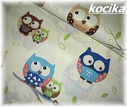 Textil - 100% bavlna-modré sovy - 3414037