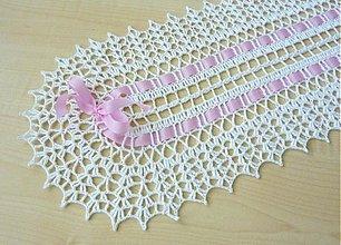 Úžitkový textil - Háčkovaná štóla biela - 3419154