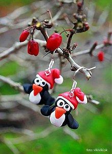 Náušnice - Vianočné náušnice - tučniaky - 3420878