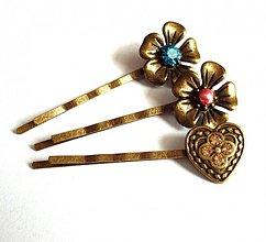 Ozdoby do vlasov - Vintage starobronzové sponky - 3422931