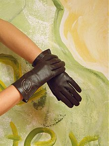 Rukavice - Hnědé dámské kožené rukavice s hedvábnou podšívkou - celoroční - 3425793